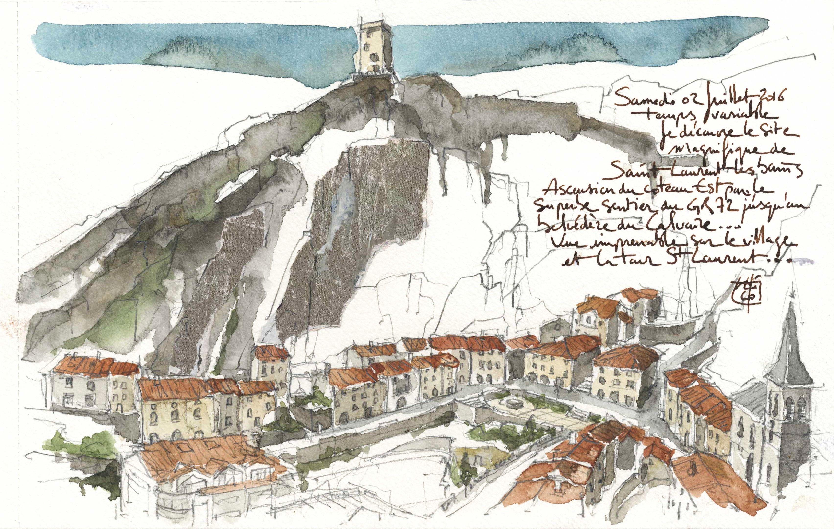 10 - Village et tour - Saint-Laurent-les-Bains - Crédit Nicolas Roux - Route des Villes d'Eaux du Massif Central (2)